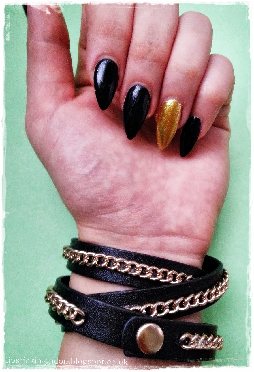 Lipstick in London: Black Almond Shaped Nails