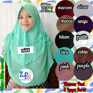 khimar 3 layer serut mini bahan sifon