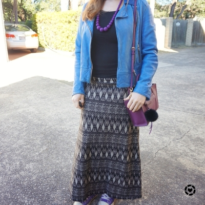 awayfromblue instagram colourful accessories with monochrome printed maxi skirt outfit