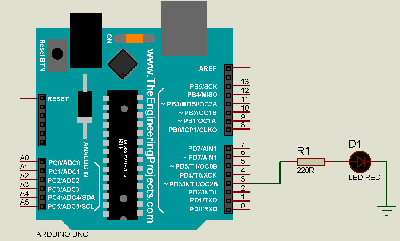 How To Use Ide Arduino Software Robotics University Led Circuit Simulation Using Atmel Studio And Proteus Uno Circuits With A On Digital Pin Number 3