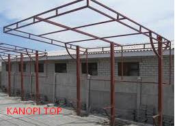 kanopi baja galvanis model rumah minimalis terbuat dari besi pipa