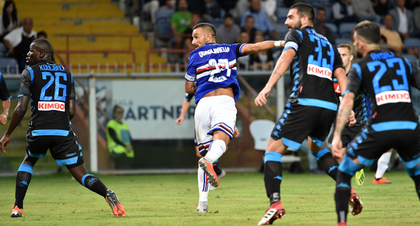 Fabio Quagliarella of Sampdoria score goal 3-0 during the serie A match between UC Sampdoria and SSC Napoli at Stadio Luigi Ferraris on September 2, 2018 in Genoa, Italy. (Oct. 26, 2014 - Source: PAOLO RATTINI/PEGASO NEWSPORT/Getty Images Europe)