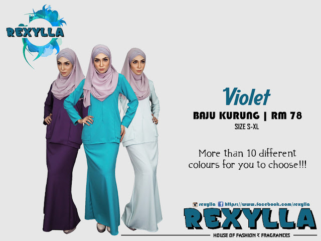 rexylla, baju kurung, violet collection
