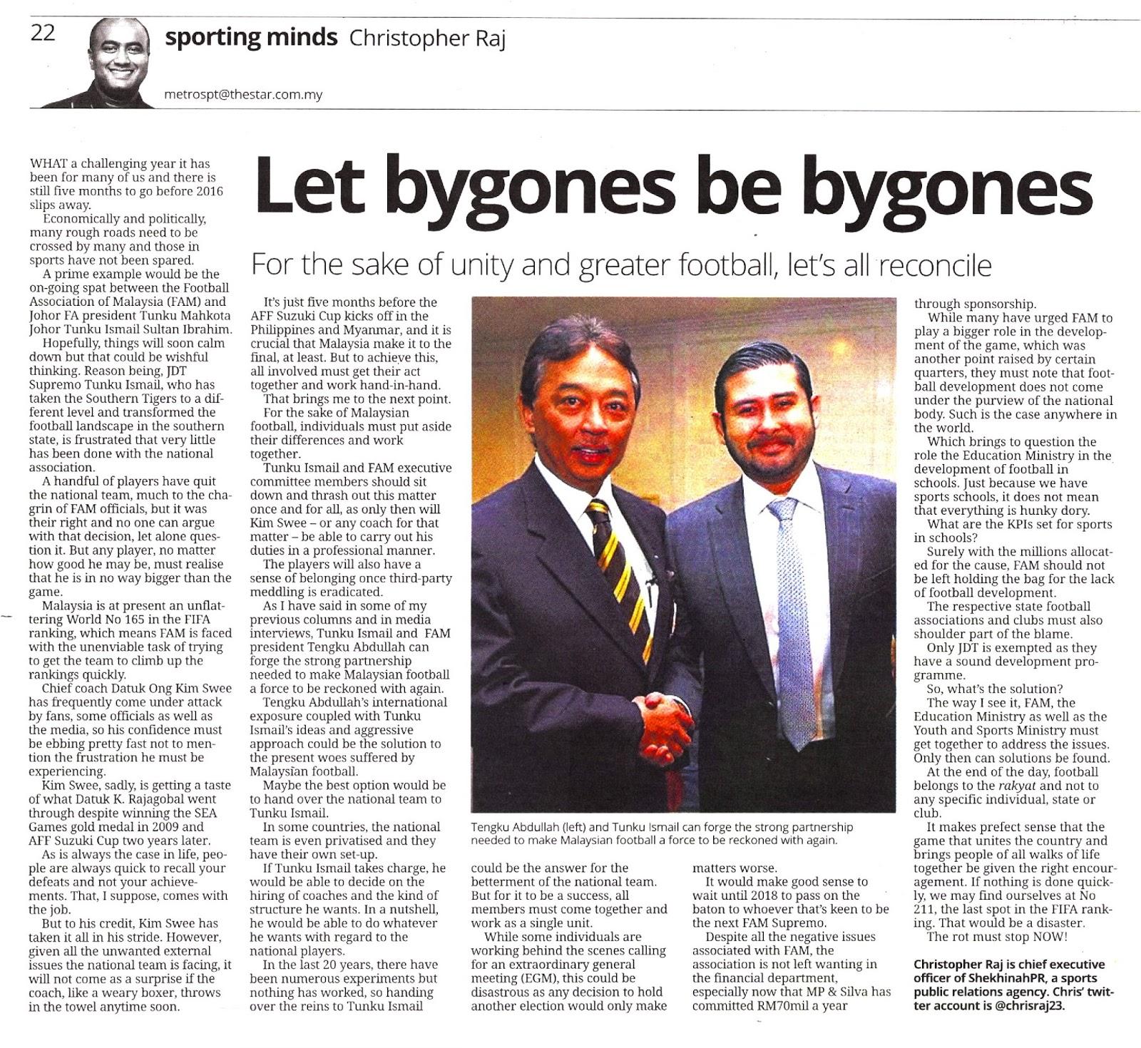 Jai Ho Malaysia: LET BYGONES BE BYGONES