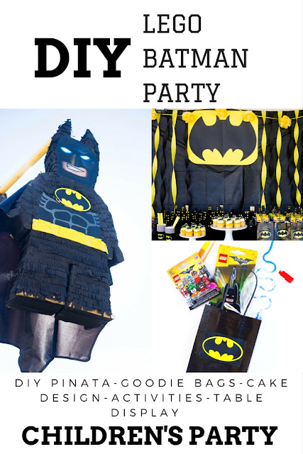lego batman piñata and goodie bags for the kids. dollar store party decorations