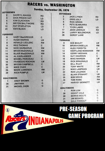 1976 vs. WHA Indianapolis Racers
