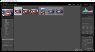 Cramer Imaging's screen shot of Adobe Lightroom opened up with photos ready to process up