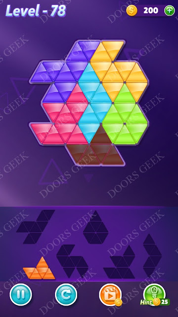 Block! Triangle Puzzle 6 Mania Level 78 Solution, Cheats, Walkthrough for Android, iPhone, iPad and iPod