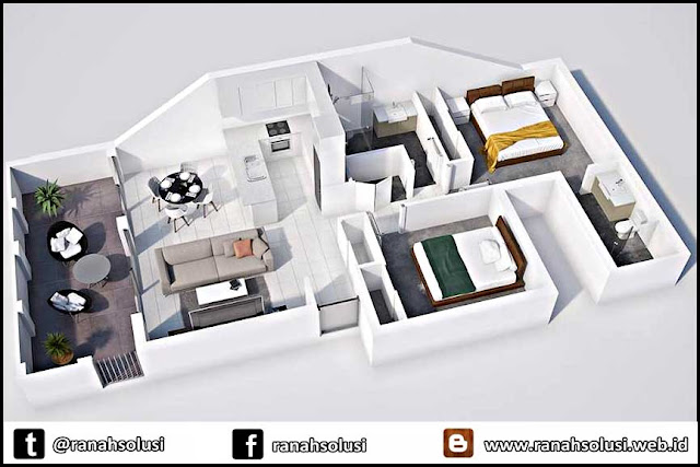 Gambar Denah Rumah Minimalis 2 Kamar Tidur
