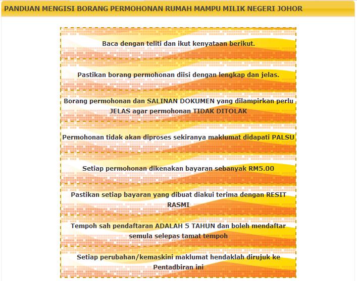 Panduan Mengisi Borang Permohonan Rumah Mampu Milik Negeri Johor