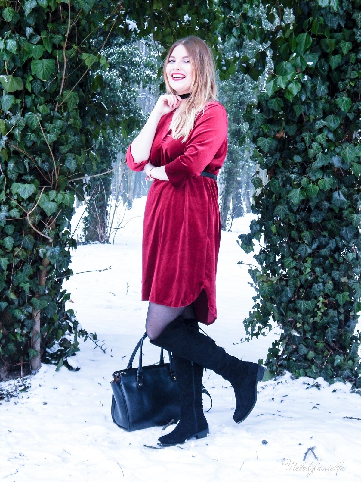 009 torebka manzana czarna czerwona aksamitna  sukienka zaful choker sammydress girl fashion zimowy lookbook stylizacja melodylaniella rajstopy veera pończochy fashion moda szary płaszcz