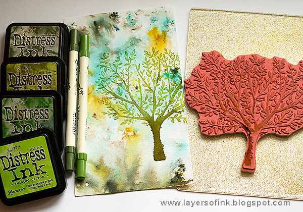 Layers of ink - DIY Guestbook Tutorial by Anna-Karin Evaldsson with Simon Says Stamp Brushed Branches stamp