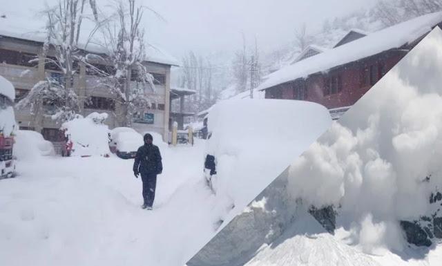भारी बर्फबारी के बीच हिमाचल के पांच जिलों में हिमस्खलन की चेतावनी
