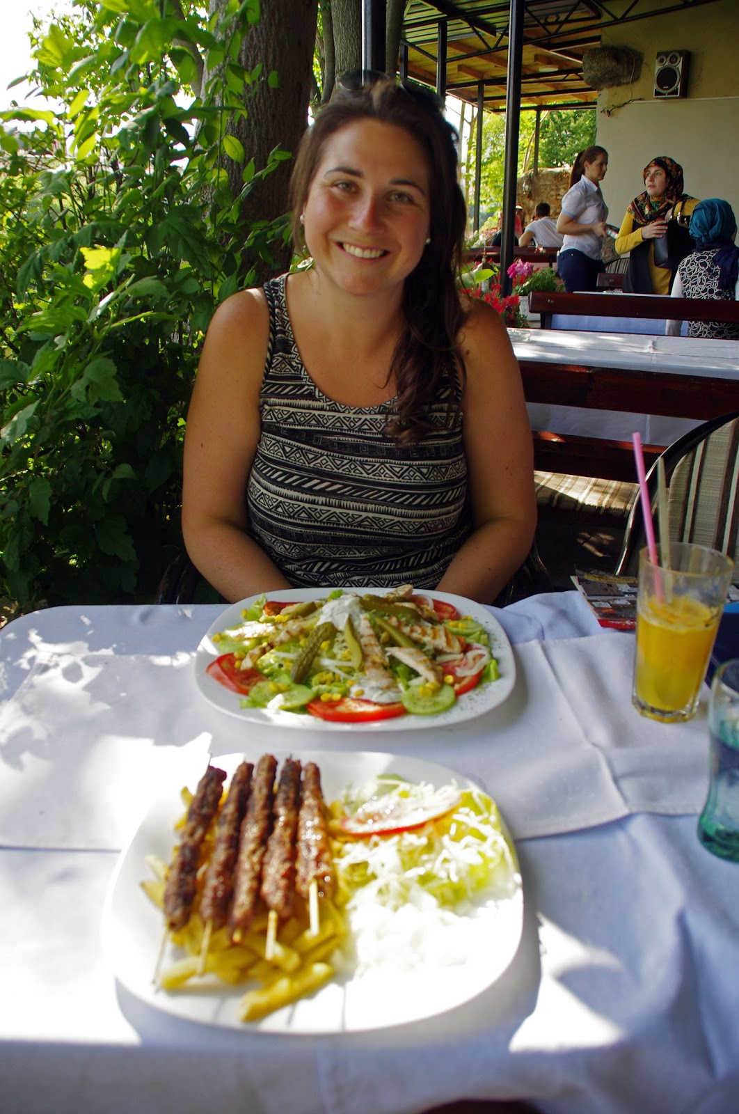 Girl eating lunch in Mostar