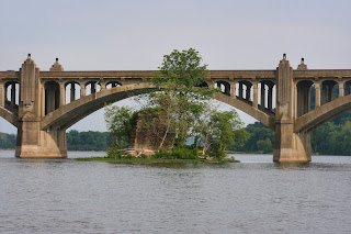 Veterans Memorial bridge and historic bridge pier on the Susquehanna