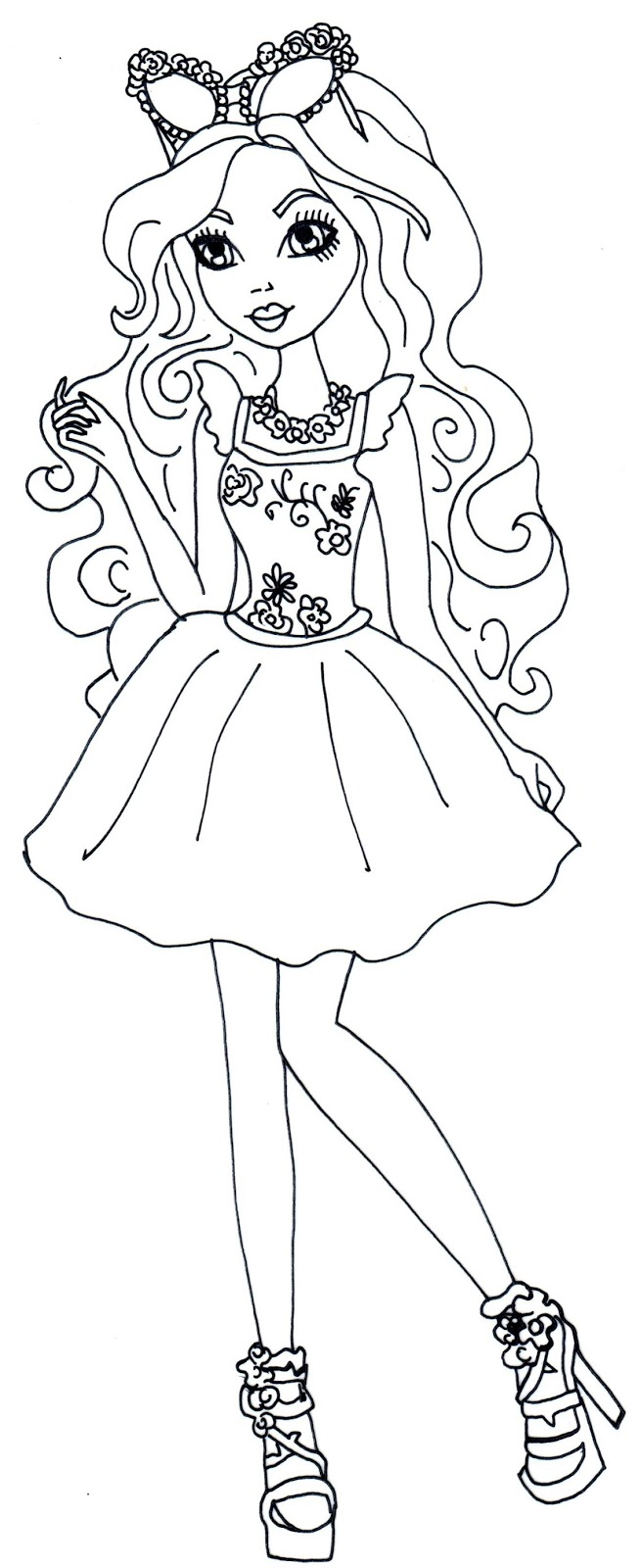 Free Printable Ever After High Coloring Pages: Lizzie Hearts ... | 1600x654