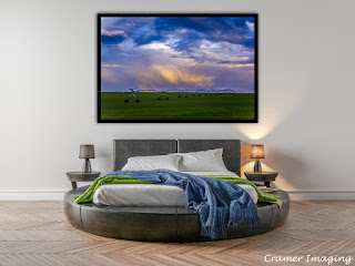 Photograph of Cramer Imaging's fine art photograph 'Idaho Spring' on the wall of a bedroom