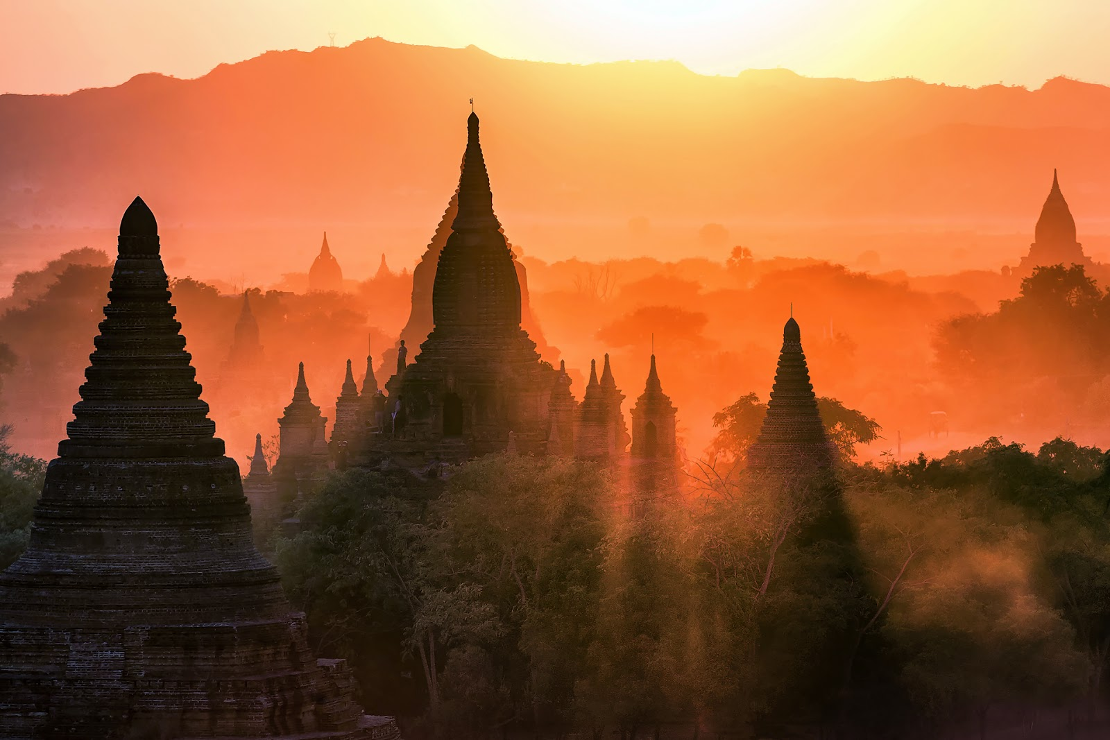 pagoda,bagan,birma,świt