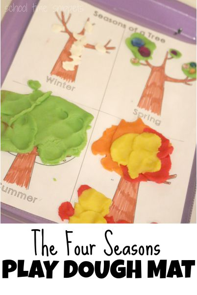4 Seasons Play Dough Mat for Four Seasons Preschool Theme