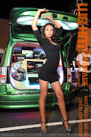 Alyssa Cherie in black mini dress as the  Boulton Girls at HIN LA 2015