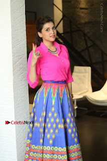 Actress Mannar Chopra in Pink Top and Blue Skirt at Rogue movie Interview  0024.JPG