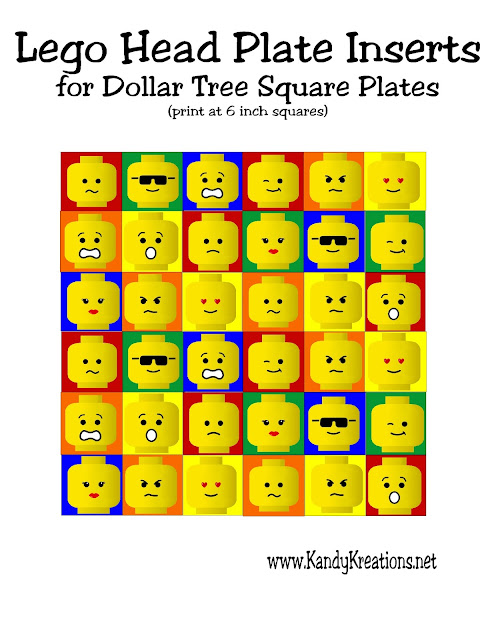 Have a fun Lego dinner party with this printable plate insert for the square Dollar Tree glass plates.  Simply print, cut, and glue or tape to the back of each plate for a fun addition to your Lego party.