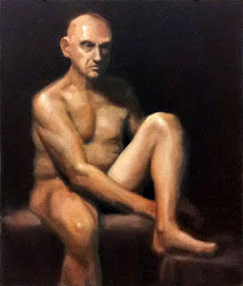 Oil painting of a seated male nude with left knee raised.