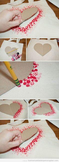 Estampar tejidos con la goma de un lápiz