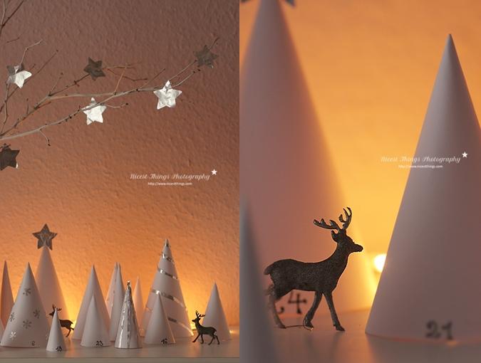 DIY Adventskalender aus Papier Bäumchen Winterwald Adventskalender