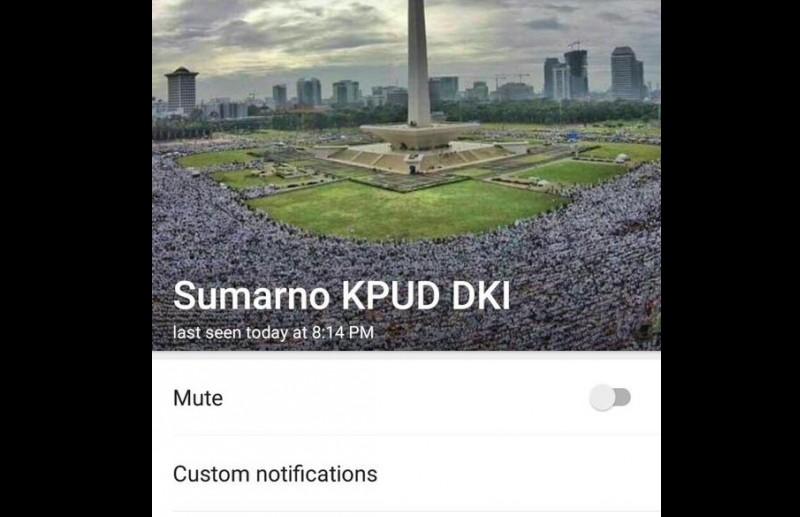 Profile picture WhatsApp Ketua KPU DKI Jakarta Sumarno