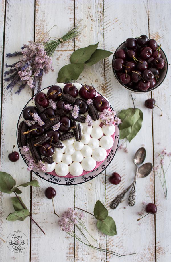 tarta-yogur-cerezas-oreo-sin-horno