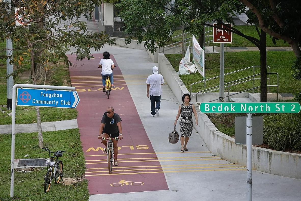 Cyclists using the red-coloured path along Bedok North Avenue 3.