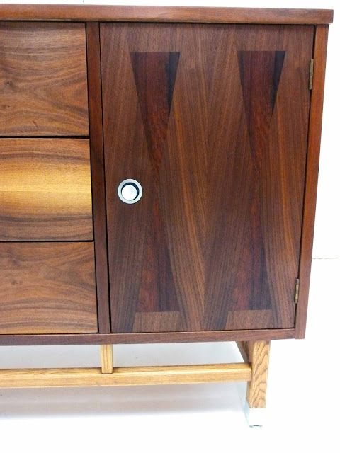 Stanley Mid-Century Walnut Rosewood Inlay Credenza Dresser Front Right