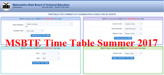 MSBTE Time Table Summer 2017