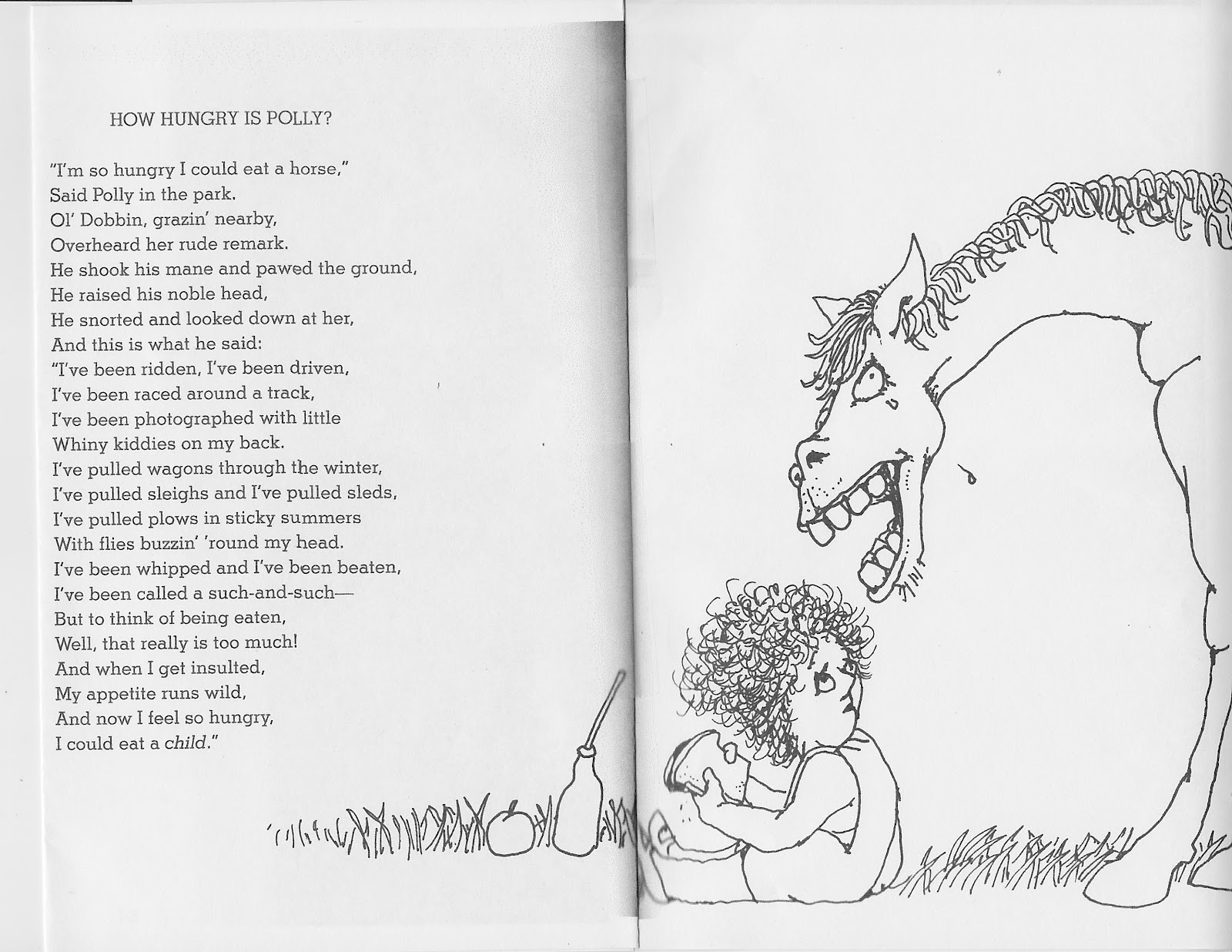 Funny Poems By Shel Silverstein: Children 4 Horses: How Hungry Is Polly
