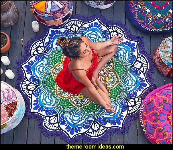 Indian Mandala Style Round Beach Throw Mat