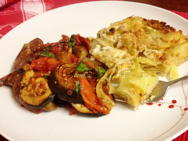 Broiled Ratatouille with Potato Pizza for dinner