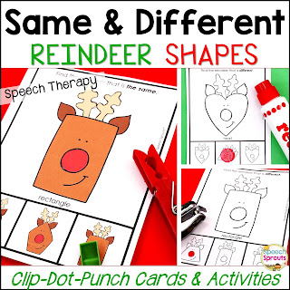 Teach the basic concepts of same and different with these fun Reindeer task cards in speech therapy this Christmas. It's interactive fun as a clothespin task, dot marker activity or hole punch the reindeer's nose! Includes a BW mini-book. #speechsprouts #speechtherapy #Christmas #speechandlanguage #sped #preschool