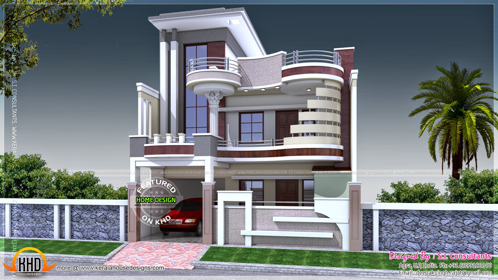 Front Elevation Designs 24 Feet Wide : July kerala home design and floor plans