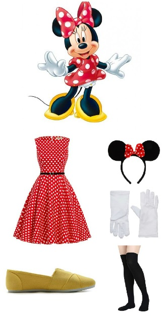 Minnie Mouse Costume - Halloween Costume Ideas Minnie Mouse red and white polka dot dress