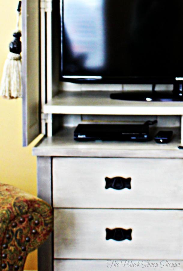 Interior of TV armoire.