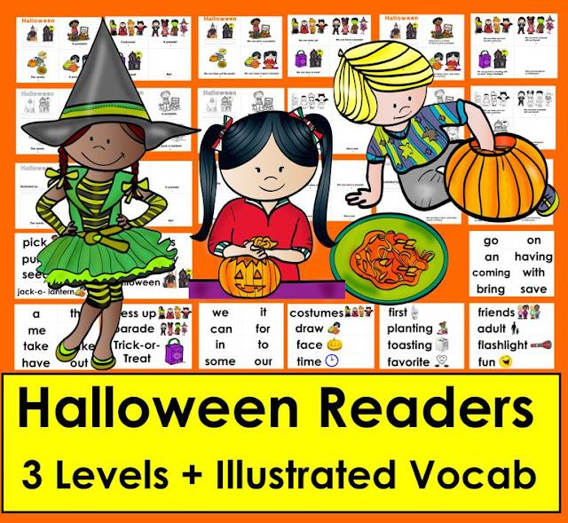 https://www.teacherspayteachers.com/Product/Halloween-Readers-3-Levels-Word-Wall-Pumpkin-Carving-Trick-or-Treat-2169275