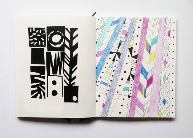 2x2 Sketchbook, Dana Barbieri, Anne Butera, sketchbooks, artist collaborations, collage, drawing