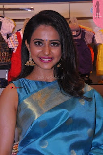Rakul Preet Singh looks super cute in Blue Saree Sleevless Choli at South India Shopping Mall, Secunderabad 8th April 2017