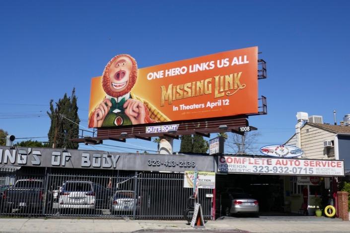 Missing Link cut-out billboard