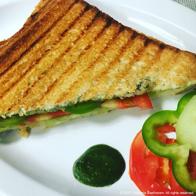 Grilled vegetable panini with mint chutney