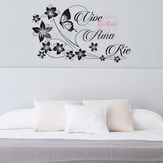 vinilo decorativo mariposa floral frase rie ama vive pared