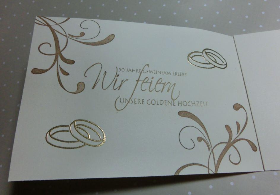 Hand Werk Birthe Klippe Einladungskarte Goldene Hochzeit