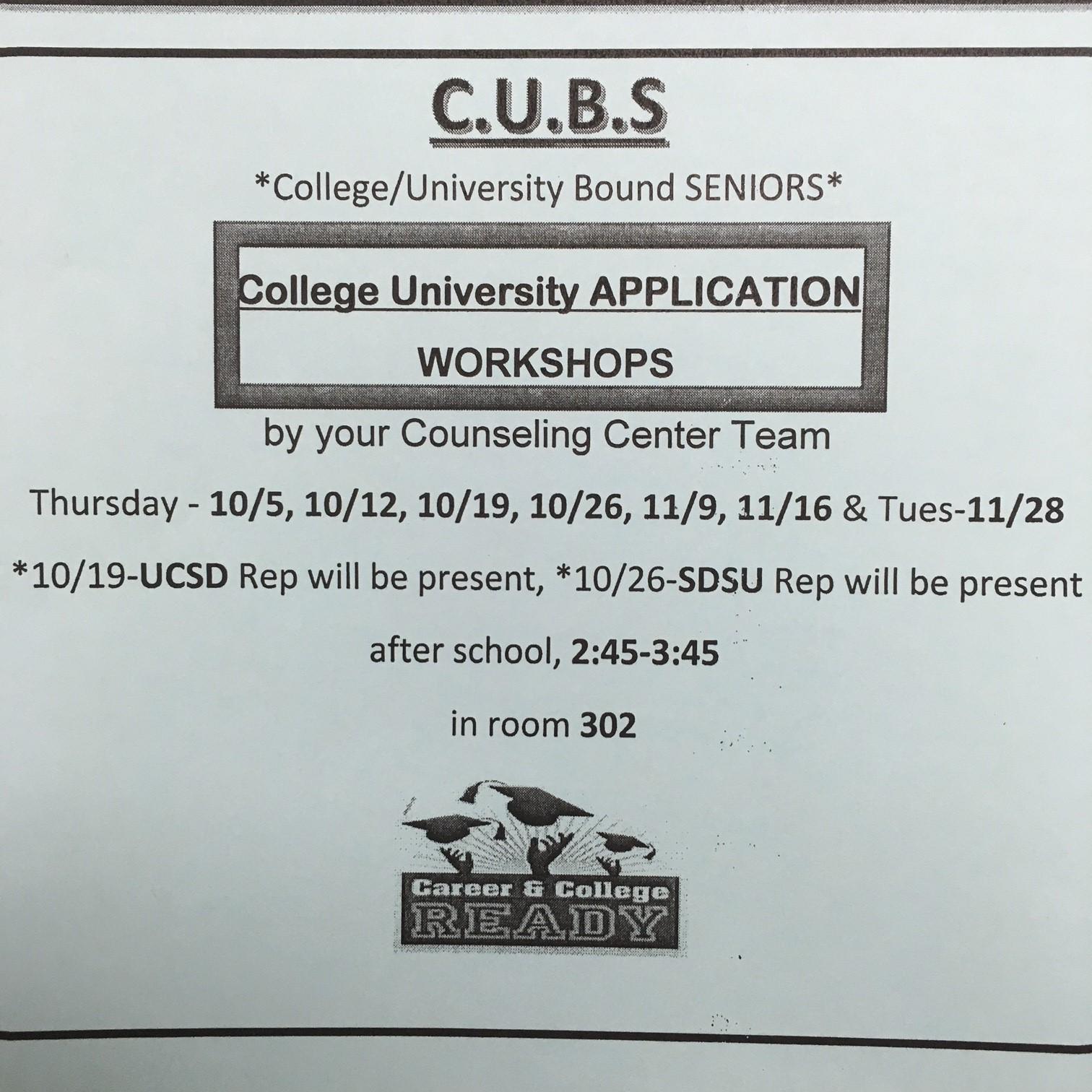 Hilltop High Counseling: Seniors: College Application Workshops