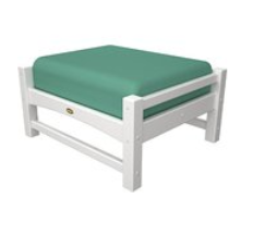 Trex Outdoor Furniture TXO23CW-5413 Rockport Club Ottoman, Classic White with Spa Cushion